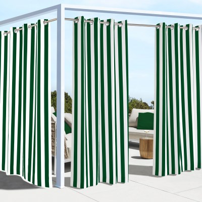 Irish Green Coastal Stripe Polyester Outdoor Curtain