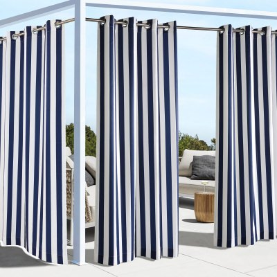 Navy Coastal Stripe Polyester Outdoor Curtain