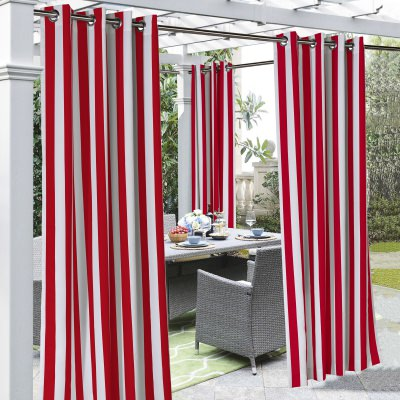Red Coastal Stripe Polyester Outdoor Curtain