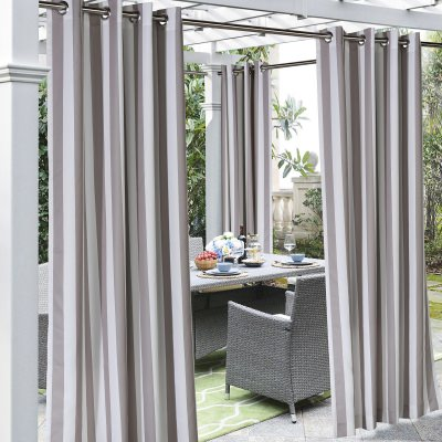 Taupe Coastal Stripe Polyester Outdoor Curtain