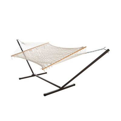 Traditional Cotton Rope Hammock Combo with Steel Bronze Hammock Stand