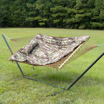 Rope Hammock with Camo Hammock Pad, Pillow and Stand Combo