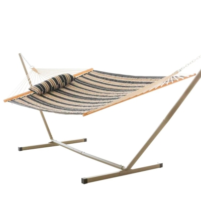 Large Quilted Fabric Hammock with Patented KD Space Saving Hammock Stand and Pillow Combo - Beige and Black Stripe