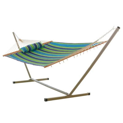 Large Quilted Fabric Hammock with Patented KD Space Saving Hammock Stand and Pillow Combo - Blue and Green Stripe