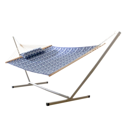 Large Quilted Fabric Hammock with Patented KD Space Saving Hammock Stand and Pillow Combo - Ikat