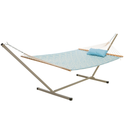 Large Quilted Fabric Hammock with 12 Foot Portable Steel Hammock Stand and Pillow Combo - Light Blue