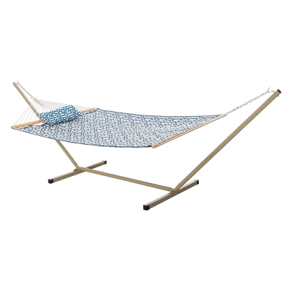 Large Quilted Fabric Hammock with Patented KD Space Saving Hammock Stand and Pillow Combo - Navy