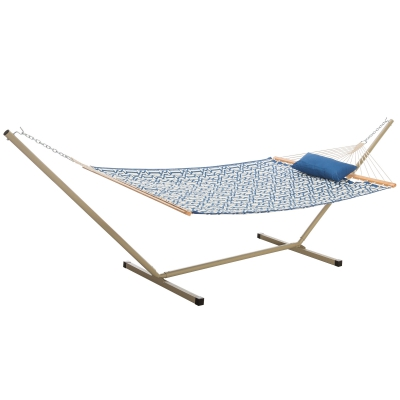 Large Quilted Fabric Hammock with 12 Foot Portable Steel Hammock Stand and Pillow Combo - Navy