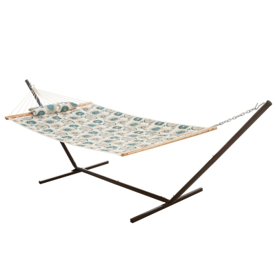 Single Quilted Fabric Hammock with 11 Foot Portable Steel Hammock Stand and Pillow Combo - Medallion