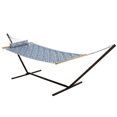 Single Quilted Fabric Hammock with Patented KD Space Saving Hammock Stand and Pillow Combo - Navy