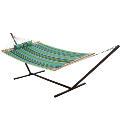Single Quilted Fabric Hammock with Patented KD Space Saving Hammock Stand and Pillow Combo - Blue and Green Stripe