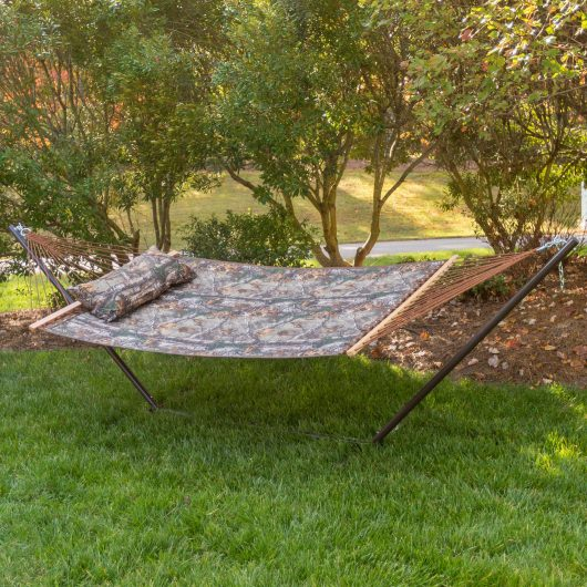 Camo Quilted Hammock Combo with Pillow and Stand