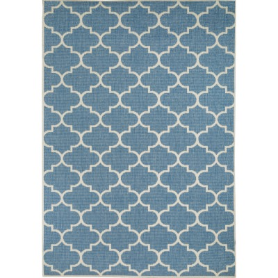 Blue and Champagne Seashells Porch Rug