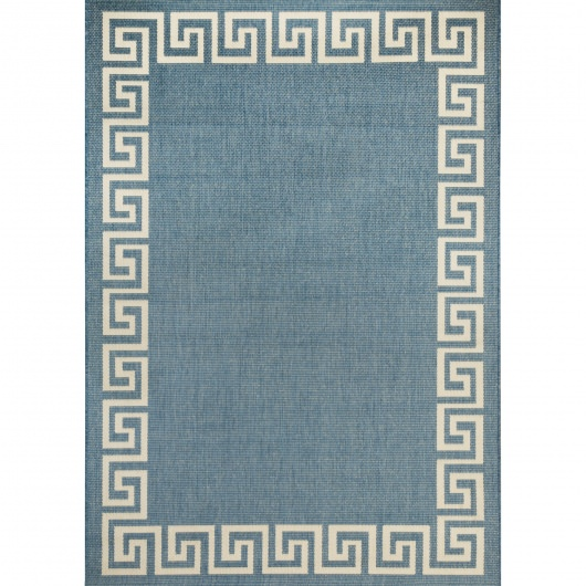 Blue and Champagne Waves Porch Rug