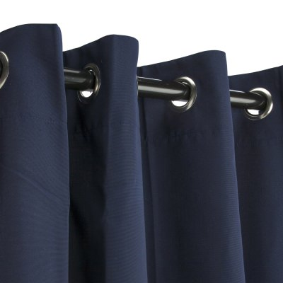 Sunbrella Canvas Navy Outdoor Curtain with Grommets