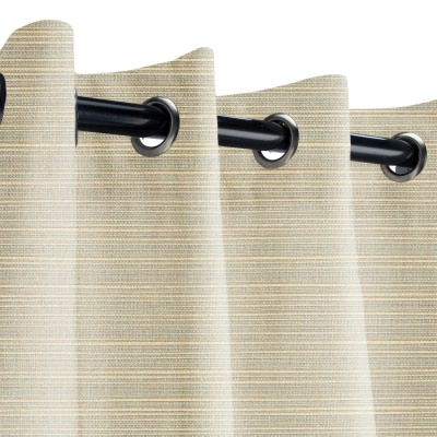 Sunbrella Dupione Dove Outdoor Curtain with Grommets