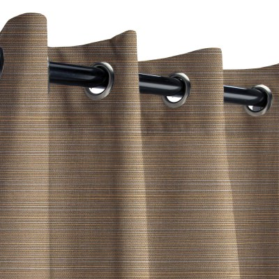 Sunbrella Dupione Stone Outdoor Curtain with Grommets