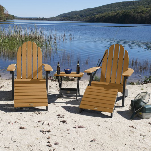 2 Essential Adirondack Chairs with Folding Ottomans and Side Table