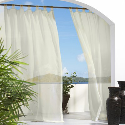 Ivory Escape Polyester Outdoor Curtain