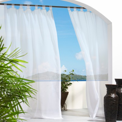 White Escape Polyester Outdoor Curtain