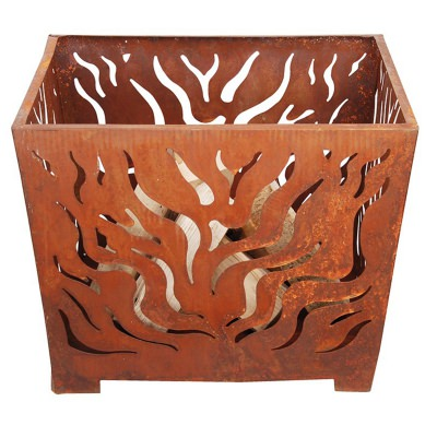 Laser Cut Steel Flame Fire Basket with Patina Rust Finish - Medium