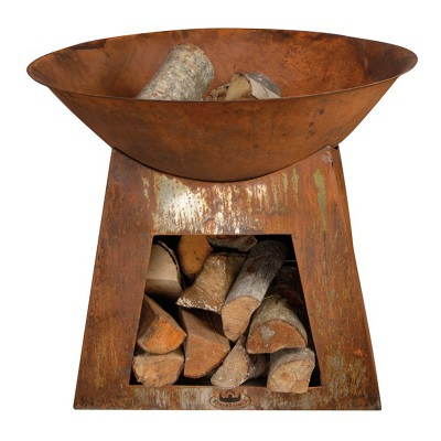 Round Steel Fire Bowl with Wood Storage