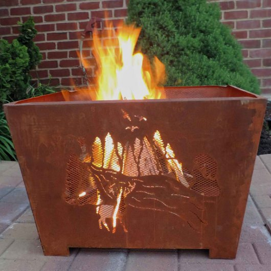 Nature Scene Fire Basket with Patina Rust Finish