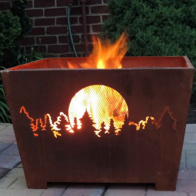 Forest and Moon Fire Basket with Patina Rust Finish