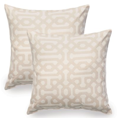 Fretwork Flax Sunbrella Indoor/Outdoor Throw Pillow - Set of Two
