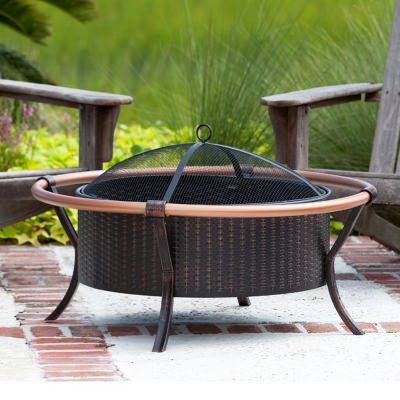 Bronze Steel and Copper Rail Fire Pit