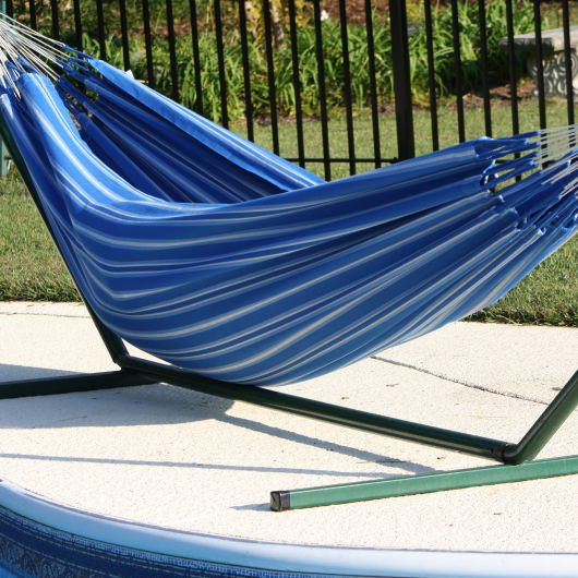 Colombian Single Hammock (11 ft 5 in) - Blue Stripe
