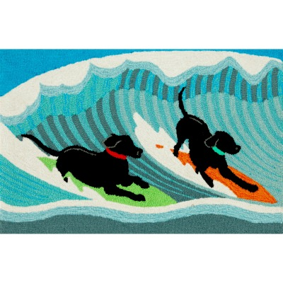 Frontporch Surfing Dogs Outdoor Rug
