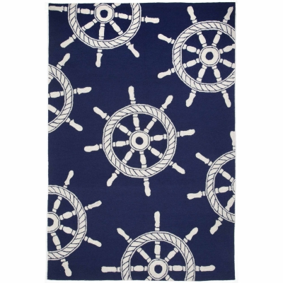 Frontporch Ship Wheel Indoor/Outdoor Rug - Navy