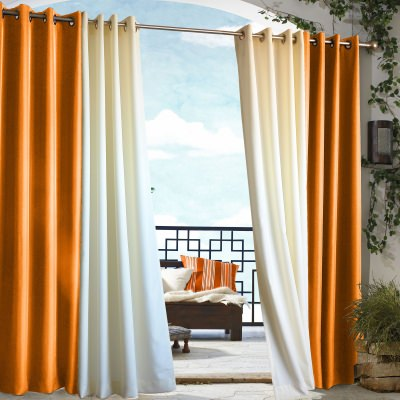 Orange Gazebo Polyester Outdoor Curtain
