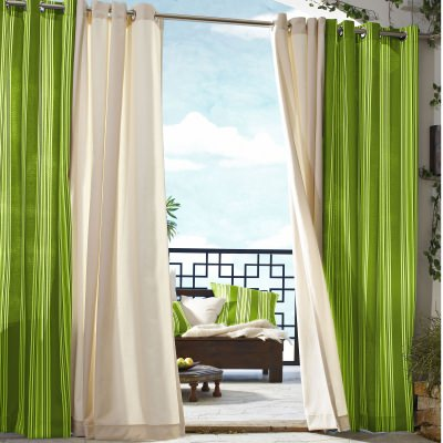 Green Stripe Gazebo Polyester Outdoor Curtain