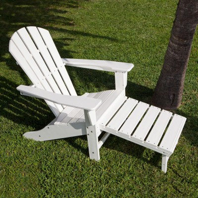 Palm Coast Adirondack Chair with Hideaway Ottoman in White