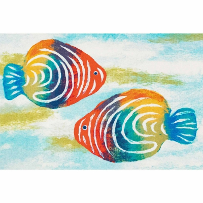 Illusions Rainbow Fish Indoor/Outdoor Mat - Pearl