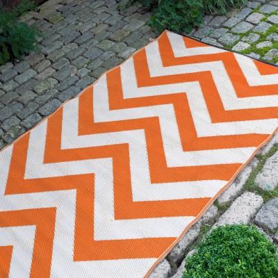 Laguna Orange L And White Outdoor Mat