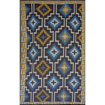 Lhasa Royal Blue and Chocolate Brown (5ft x 8ft)