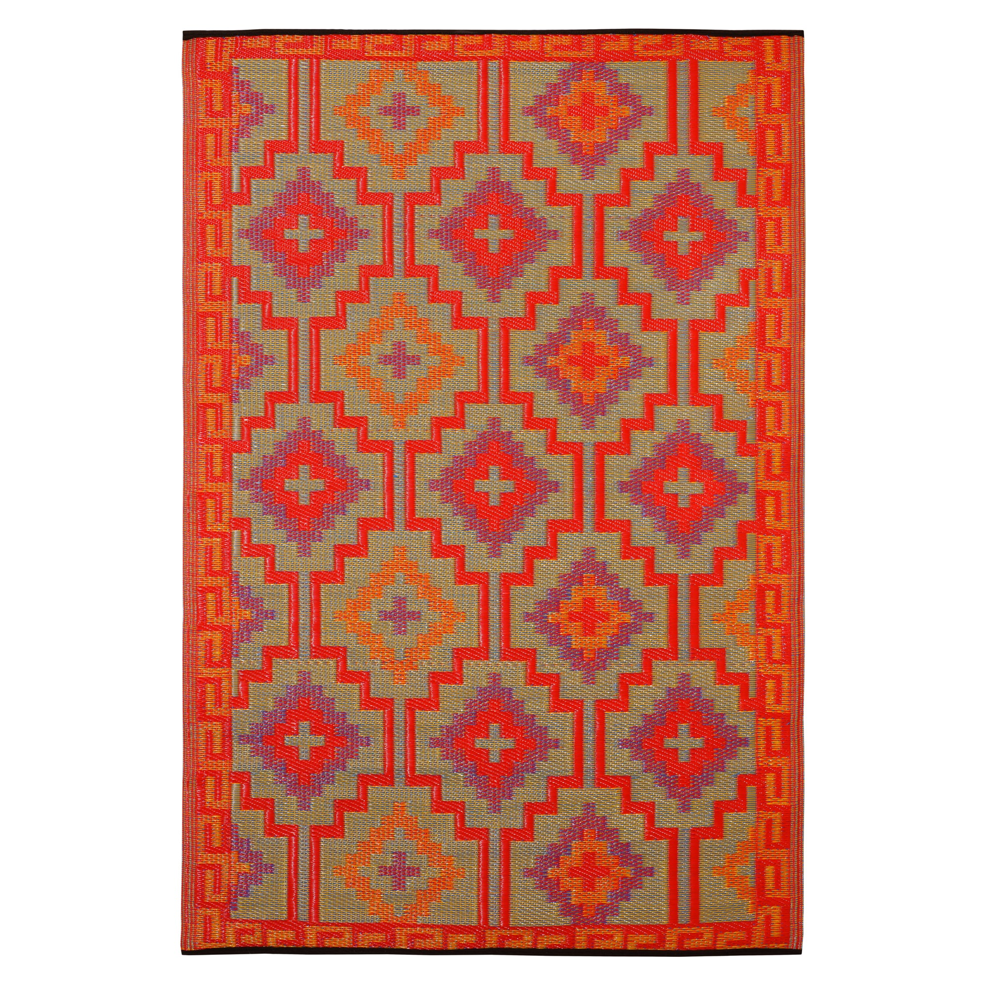 recycled plastic outdoor rugs Lhasa Orange & Violet Outdoor Mat | Fab Habitat | DFOHome recycled plastic outdoor rugs