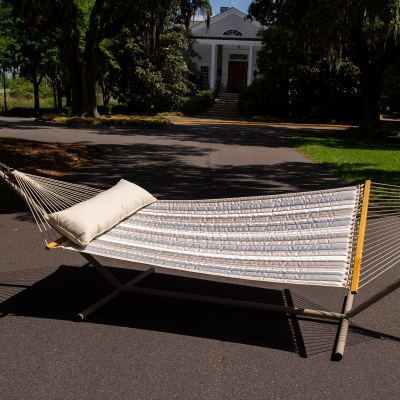 Large Quilted Sunbrella Fabric Hammock - Expand Dove