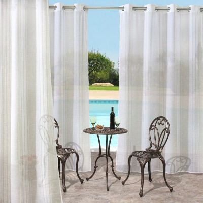 Silver Macie Polyester Outdoor Curtain