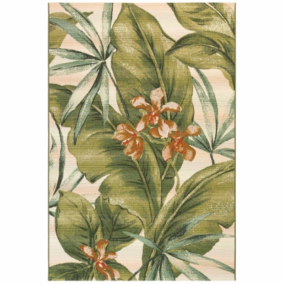 Marina Tropical Leaf Indoor/Outdoor Rug - Cream