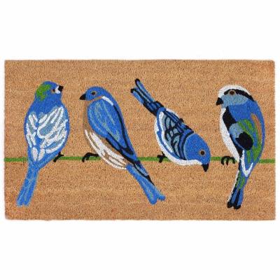 Natura Blue Birds Outdoor Mat - Natural
