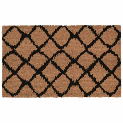 Natura Ikat Lattice Outdoor Mat - Black