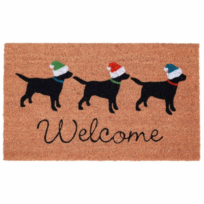 Natura Three Dogs Holiday Outdoor Mat - Natural
