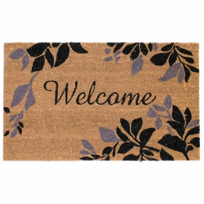 Natura Welcome Leaves Border Outdoor Mat - Black