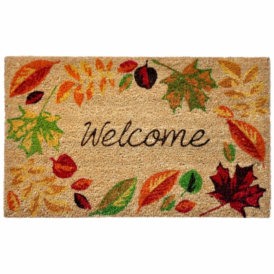 Natura Welcome Leaves Outdoor Mat - Natural