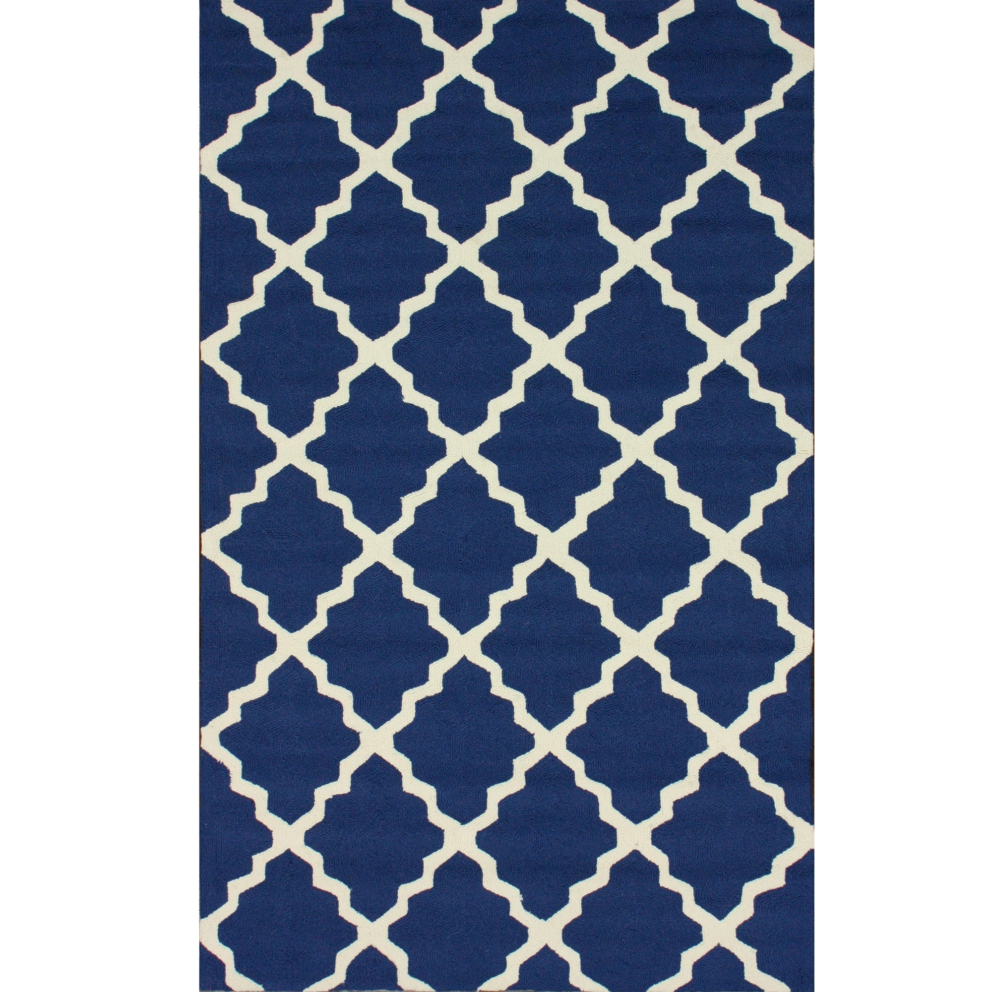 Navy Blue Outdoor Trellis Rug 4ft X 6ft