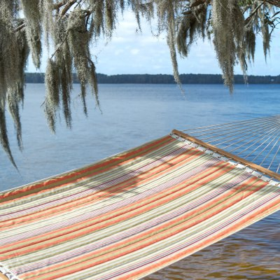 Large Polyester Quilted Hammock - Orange Stripe